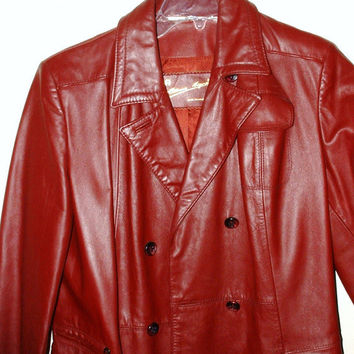 Long Burgundy Red Leather Coat Vintage Size 14 Etienne Aigner