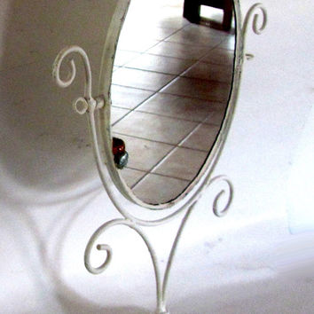 Vanity mirror. Old shabby mirror. Vanity makeup standing mirror. White metal frame. Distressed. Upcycled vintage.