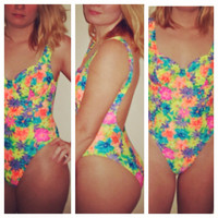 90s Bright Neon Colorful Floral Tye Dye One Piece Push Swimsuit Low Back