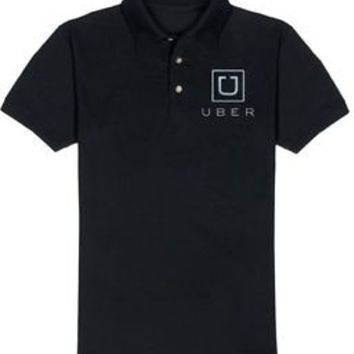 Mens UBER logo POLO SHIRT NEW Taxi Car Hire Service Rideshare Driver Black White