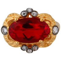 Classic 18k Yellow Gold Vermeil Pretty Solitaire Red Glass & Zircon Women's Ring