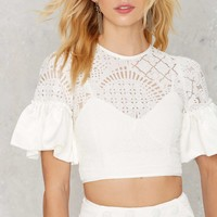 Ruffle Around the Edges Lace Crop Top