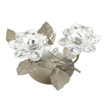 Iron Crystal Flower Centerpiece Candle Holder