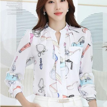 Fashion Woman Tops Shirt  Causal Stand Collar Blouses Long Sleeves Shirts Loose Female Office Work Wear Tops Shirt 33059 GS