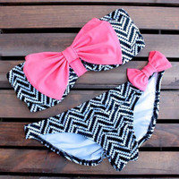 Cute Bow Stripe Beach Bikini Swimsuit Swimwear