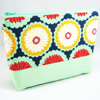 Mint green and navy blue daisy / floral print cosmetic case, makeup bag, pencil case, zipper pouch