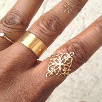 Gold Filled Filigree Ring/ Gold Boho Ring/ Vintage Style Boho Ring/ Gold Filled Ornate Ring/ Festival Jewelry/ Gift For Her/ Gift For Sister
