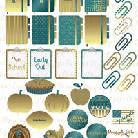 November Teal Gold Printable Planner 31 School Holiday Stickers Sheet 6 of Kit PDF& Jpeg Erin Condren Life Planner Kikkik Filofax