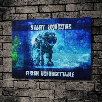 Start Unknown Finish Unforgettable Abstract Canvas Wall Art