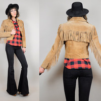 FRINGE suede 70's leather jacket camel tan Fitted 80's motorcycle biker western coat xs / small
