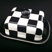 Butter Dish. Checkerboard Knobbed Double Butter Dish. Dish. Handmade by Sara Hunter Designs.