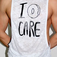 I Donut Care Low Armhole Tank-White
