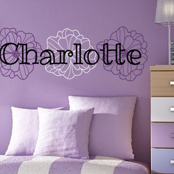 Girl's Bedroom Flower Name Wall Decal | Wall Sticker