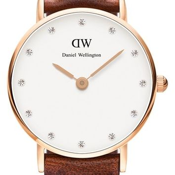 Daniel Wellington 'Classy St. Mawes' Crystal Index Leather Strap Watch, 26mm