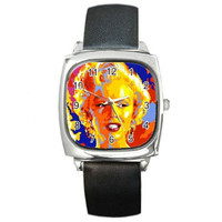 Artistic Marilyn Monroe on a Silver Square Watch with Leather Bands NEW