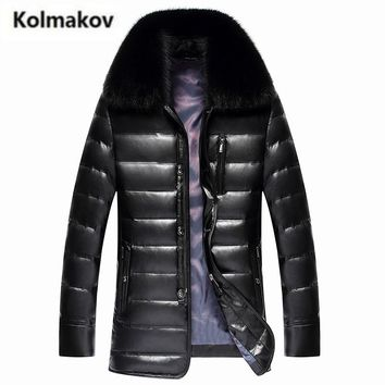 KOLMAKOV 2017 winter new men 's fashion Fox fur collar PU leather Thick down jacket parkas,High quality 90% white duck down coat
