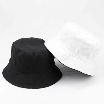 Unisex Adult Flat Reversible Bucket Hats Solid Color Fisherman Caps Outdoors Sun Protective Beach Hat