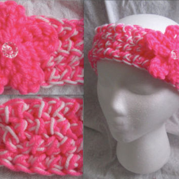 Neon Pink & White Headband Ear warmer (Skinny)