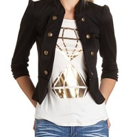 Ruched Sleeve Military Blazer: Charlotte Russe