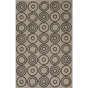 Grant Coll. Inside/Outside Durable Ivory/Black Target Area Rug (2 x 3)