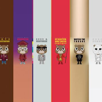 D317 New Kanye West Bear Kaws Paws Custom Silk Poster Art Print Canvas Painting Wall Posters
