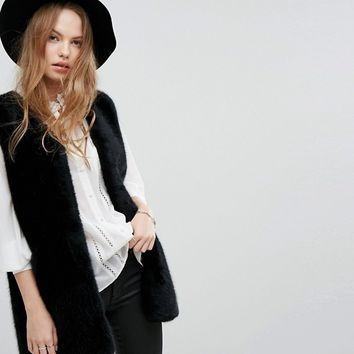 New Look Faux Fur Gilet at asos.com