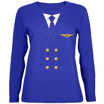 Halloween Airline Airplane Pilot Womens Long Sleeve T Shirt