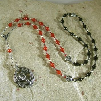 Morrigan Prayer Bead Necklace in Carnelian and Black Onyx: Irish Celtic Goddess of War, Death and Sovereignty