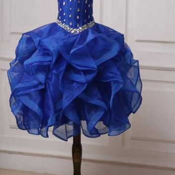 Sparkling Crystals Flower Girl Dress  Royal Blue Ruffled Organza Pageant Girl Dresses Cupcake Gowns