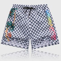 LV 2018 new classic checkerboard print loose casual beach pants White