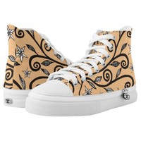 Flowers and Swirls Tangle Drawing on Mandarin Oran Printed Shoes