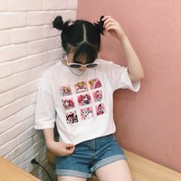 2018 Women'S Korean Chic Girls Harajuku Ulzzang Cartoon Printing Loose Soft T-Shirt Women Kawaii Punk Retro Clothes For Female