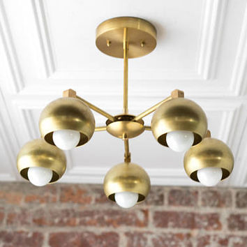 Modern Brass Fixture - Round Shade - Brass Ceiling Lights -Gold Kitchen Lamp - Light Fixture - Mid Century