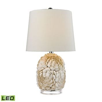D2655-LED Natural Shell LED Table Lamp With Off White Linen Shade
