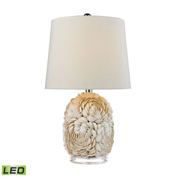 D2655-LED Natural Shell LED Table Lamp With Off White Linen Shade - Free Shipping!