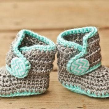 DCCK8X2 Crochet Baby Booties - Baby Boots - Mint Teal and Grey Baby Shoes Chevron - Chevron Ba