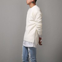 Mens Side Slit Furry Airport Sweater at Fabrixquare