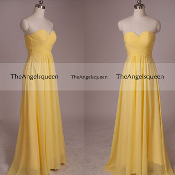 Simple Yellow Strapless V-neck Pleated Bust Long Party Dress,bridesmaid dress,cocktail dresses,evening dresses,cheap prom dress