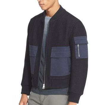 Men's Neil Barrett Felted Wool Bomber Jacket,