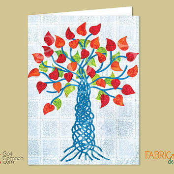Quilted Card, Greeting Card, Tree of Life Card, Valentine's Day Card, Inspirational Card, Get Well Soon, Blank inside, 5 x7 w/ envelope
