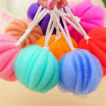 2017 New Fashion Pumpkin Shaped nylon Exfoliante Bath ball Sponge Body Shower Brush Back Scrubber Body cleaner HG11
