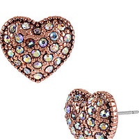 BetseyJohnson.com - CRYSTAL HEART STUD MULTI