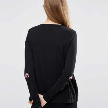 ASOS Jumper with Halloween Fangs Elbow Patch