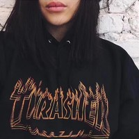 Men/Women sportswear Thrasher hoodie flame skateboard dead fly west hip-hop harajuku hooded fleece Thrasher THRASHER sweatshirt-2