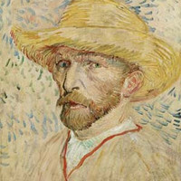Self Portrait with Straw Hat by Vincent Van Gogh Fine Art Print