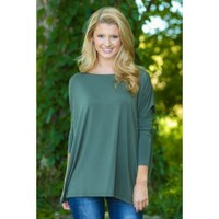 PIKO:Just About Anywhere Blouse-Olive