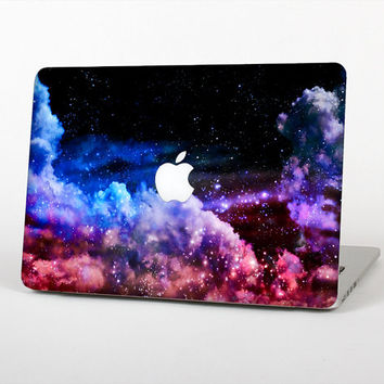 The Purple Blue and Pink Cloud Galaxy Skin Set for the Apple MacBook Laptop (Most Versions Available - Choose Coverage)