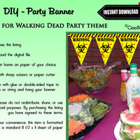Printable Walking Dead Zombie Party Banner - INSTANT DIGITAL DOWNLOAD