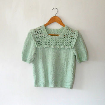 Mint green knitted sweater / cute / 40s / 50s style / hand knitted / cotton blend / vintage / 80s / frill / short sleeve sweater