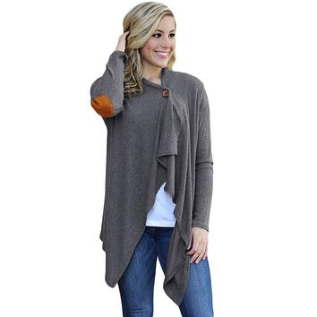 Chicloth Gray Elbow Patch Women Cardigan